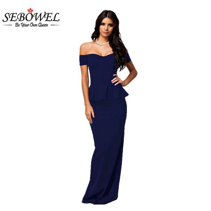 SEBOWEL Women Plus Size Peplum High Waist Brief Sexy Maxi Off The Shoulder New Long Dress M L XL XXL Black Red Blue #Affiliate