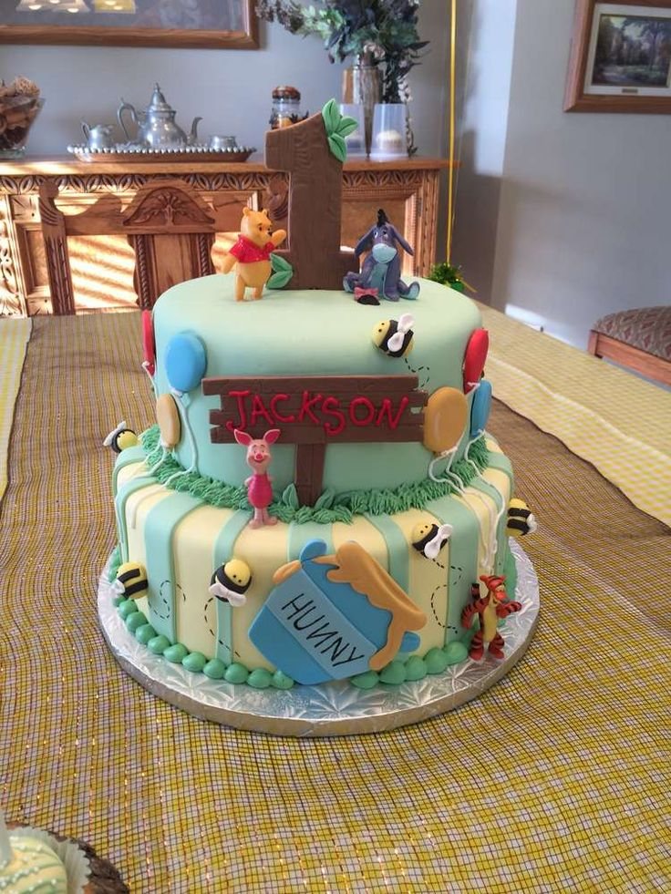 Fun cake at a Winnie the Pooh birthday party! See more party planning ideas at CatchMyParty.com!