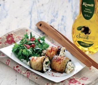 Tulum peynirli patlıcan sarma » Soğuk Başlangıçlar » Enfes Lezzetler » Komili Hakiki Lezzet Atölyesi