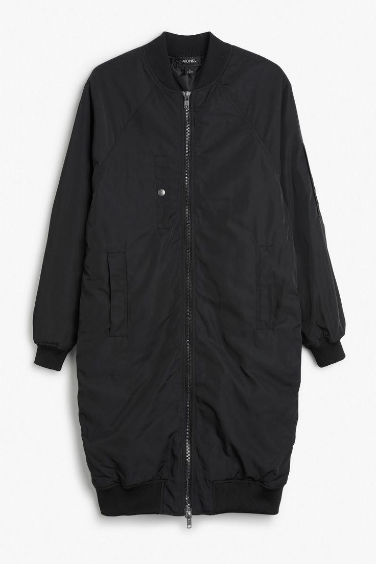 Ultra long bomber jacket