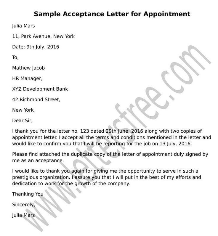 Write a formal acceptance letter for appointment to your new - sample appointment letter