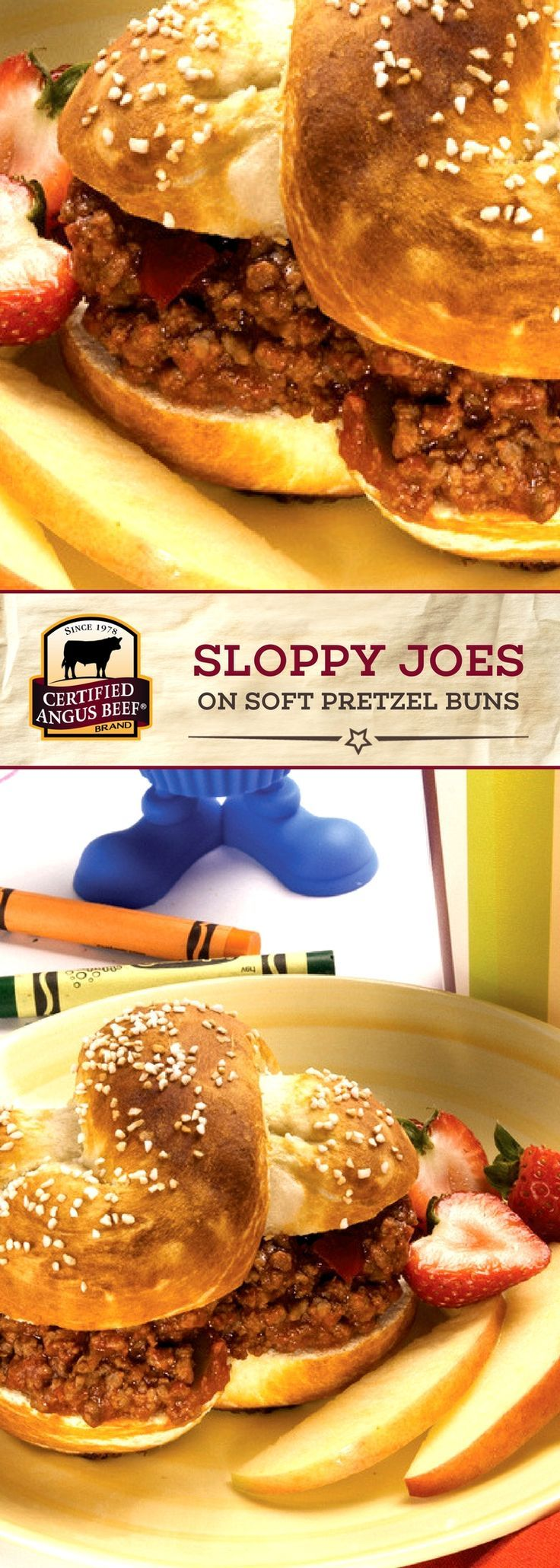Certified Angus Beef®️️️ brand Sloppy Joes on Soft Pretzel Buns are so DELICIOUS! This sloppy joe recipe is PACKED with flavor from the best ground chuck and seasoning mix, and uses HOMEMADE pretzel buns! #bestangusbeef #certifiedangusbeef #beefrecipe #easyrecipes #kidsrecipes