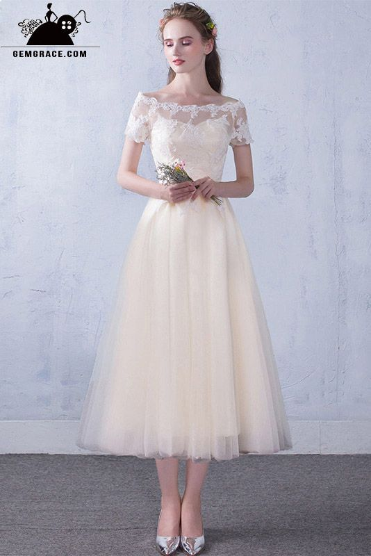 ab06635a48 Off Shoulder Sleeve Champagne Tea Length Wedding Party Dress with ...