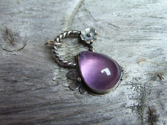 Amethyst Sterling Silver Pendant with Natural Amethyst