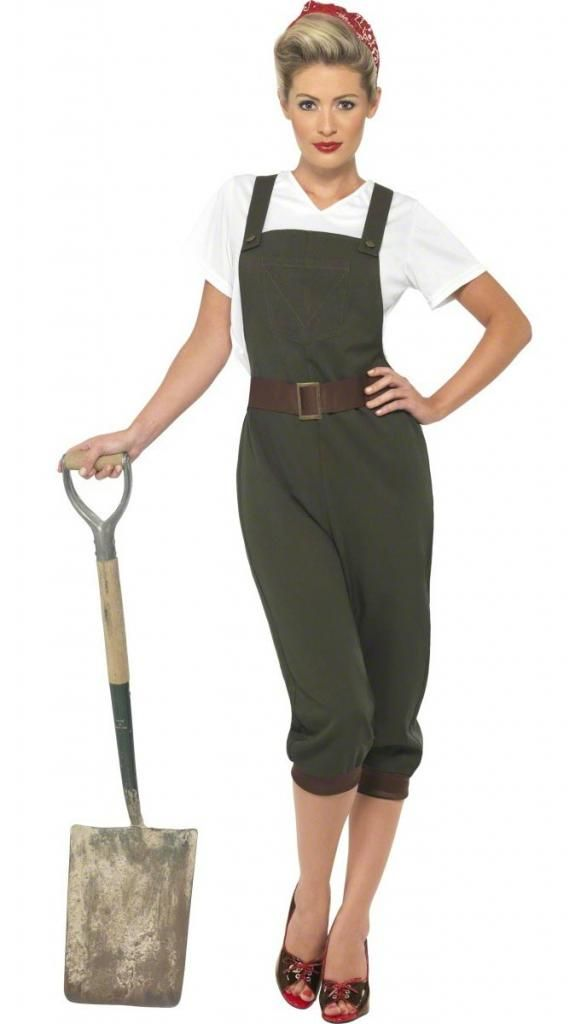 WWII Land Girl Fancy Dress Costume for Adults by Smiffy 39491 | Karnival Costumes