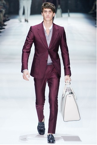 Burgundy Suit , white bag By Gucci , spring collection coming in 2012