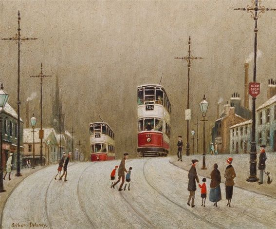 Trams in the Snow by Arthur Delaney