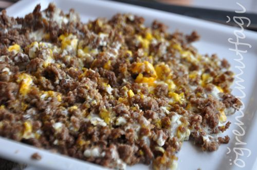 Malzemeler: 1 kase dana kıyma 2 yumurta sıvı yağ tuz  Hazırlanışı : Teflon tavaya 2-3 yemek kaşığı kadar sıvı yağ alarak kıymayı bu yağda kavurun. Kıymanın tuzunu da serpiştirin bu arada. Kavrulunca yumurtaları kırın üzerine, kaşığın ucu ile yumurtaları dağıtın ki iyice pişsinler. Ardından ocağı kapatıp kıymalı yumurtayı servis tabağına alabilirsiniz. Afiyet olsun..
