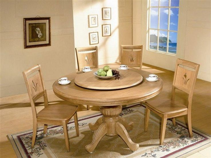 Exquisite Round Kitchen Table Sets With Marble Surface: White Oak Rolling  Round Kitchen Table Set