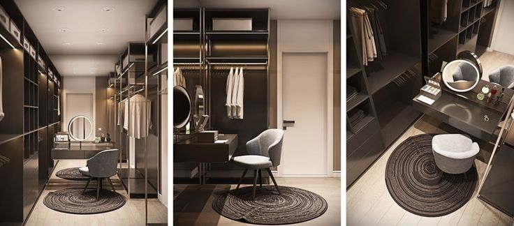 coffee-bean-coloured-cabinetry-sophisticated-spiral-rug-walk-in-wardrobe