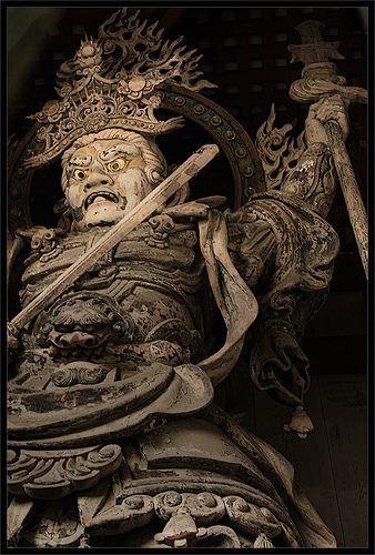 Japanese guardian God, Komokuten, Nara, Japan: photo by Maradentro_, via Flickr