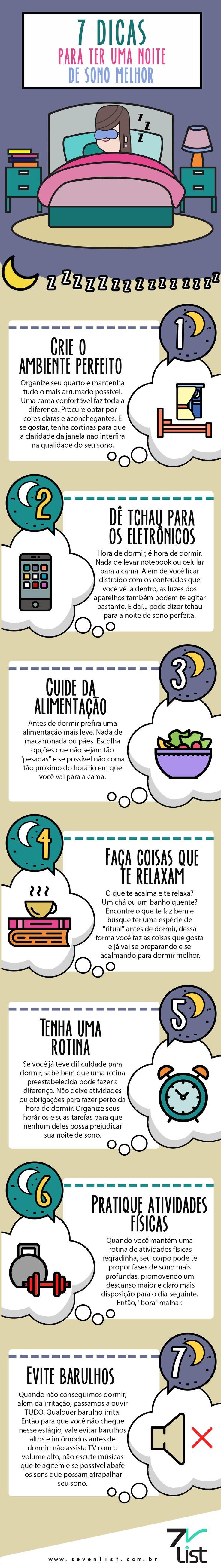"""Insônia, você já teve? Uma noite de sono bem dormida pode transformar o seu dia seguinte de uma forma bastante positiva. Mas, nem sempre conseguimos criar o """"clima"""" ideal para isso. Hoje o Seven List separou 7 dicas para ter uma noite de sono melhor. #SevenList #Noitedesono #Dormir #Insônia #Dormirbem #Saúde #Bemestar #Atividadefísica #Eletrônico #Descanso #Noite #Barulho #Rotina #Horário #Relaxar #Alimentação #Comerbem #Ambiente #Quarto #Decoração #Aconchego"""
