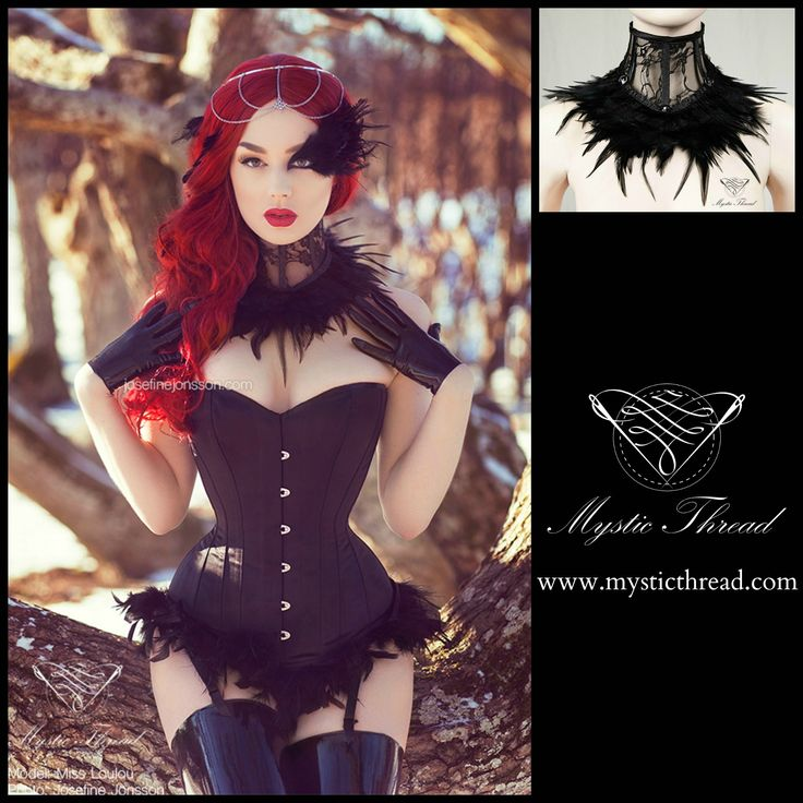 Black lace feathered neck corset by Mystic Thread / Model Miss Loulou /  Photographer Josefine Jonsson photography  /  Neck corset: Mystic Thread / e-shop: www.mysticthread.com / facebook: www.facebook.com/mysticthread.ltd /  Instagram: www.instagram.com/mysticthread #mysticthread #missloulou #gothic #victorian #gothicaccessories #gothicfashion #victorianaccessories #victorianfashion #gothic #victorian #neckcorset #corset #lacecorset #featheredcorset #laceneckcorset #blackneckcorset…