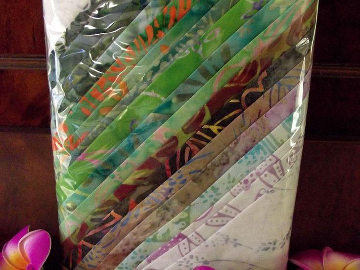Bali Batik 100% Cotton Quilting  Fat Quarter Pkt 19 PIECES 45cm x 55cm greens