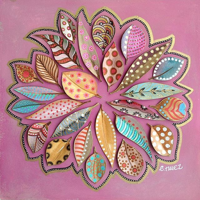 Creative zentangle leaves collage.. by bicocacolors - Elena Nuez