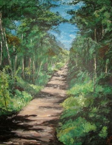 'Jenny's Trail' by Natasha Lowenthal, landscape, forest painting, fine art, impressionist landscape