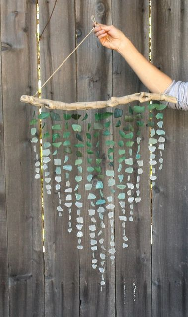 driftwood and sea glass