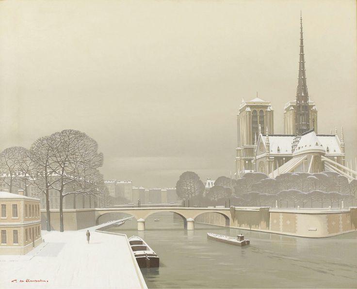 PIERRE DE CLAUSADE (French 1910-1978) Pont Neuf, Neige sur Paris, 1959
