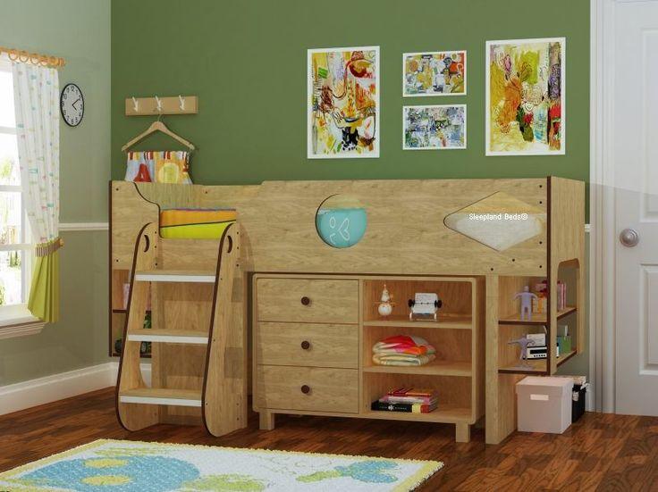 Ollie Modern Childrens Storage Mid Sleeper Cabin Bed In Oak £399