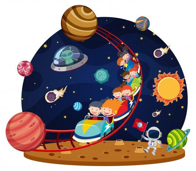 Niños Montando Espacio En Montaña Rusa Vector Premium Mural Infantil Dibujos Del Espacio Dibujos Para Niños