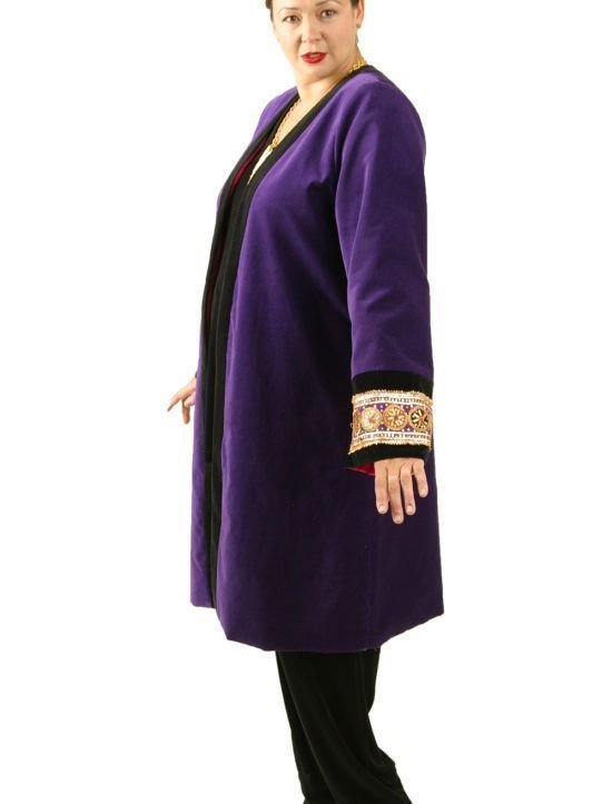 Plus Size Special Occasion Empress Coat Velvet Beaded Purple by Peggy Lutz is made-to-order in sizes 14 - 32.  LOVE what you wear, xox Peg #peggylutzplus #lovewhatyouwear #style #plusstyle #plussize #plussizefashion #plussizeluxury #styleatacertainage #womenstyle #womanstyle #couture #winterstyle #winterwedding