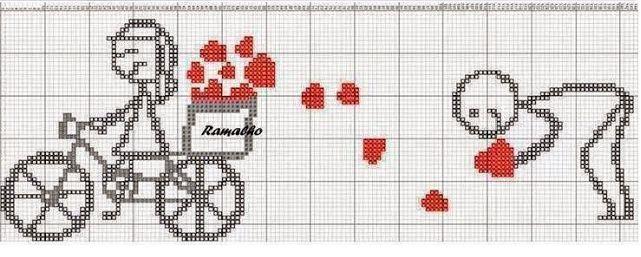 Gráficos românticos em ponto cruz