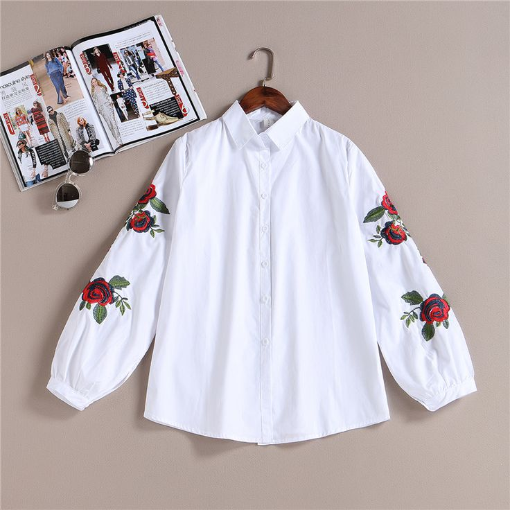 100% Real 2017 New Arrival Spring Women Casual Cotton White Blouse Shirts Lady Long Sleeve Rose Floral Embroidered Shirt Female