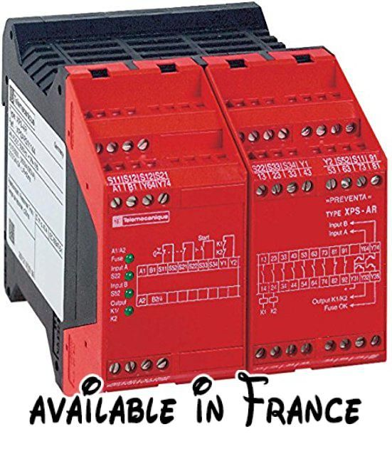 Schneider electric xpsar351144module XPS, Ar, arrêt d'urgence, 115V CA. Gamme: automatiz PREVENTA safety. Appliquer module sécurité: pour contrôle d'arrêt d'urgence, commutateur et barrière photoélectrique de sécurité. Type de démarrage: configurable #BISS Basic #ELECTRONIC_COMPONENT