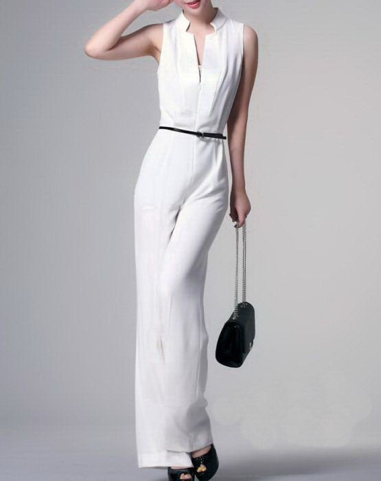 Unique Design Womenu0026#39;s Sleeveless Formal Jumpsuit Pants Black White - Custom-Made U0026 Expedited ...