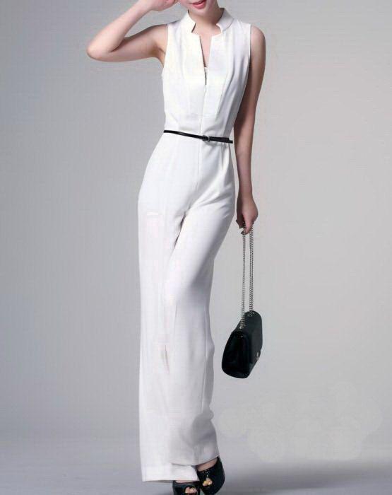 Unique Design Womenu0026#39;s Sleeveless Formal Jumpsuit Pants Black White - Custom-Made U0026 Expedited ...