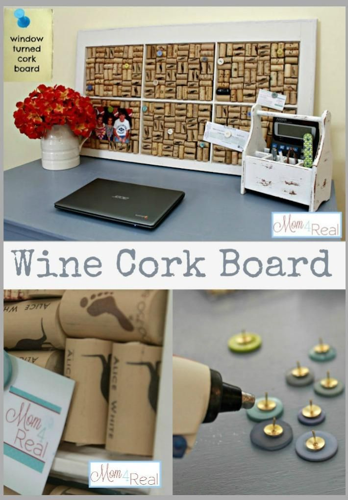 DIY Recycled project: DIY Old Window Turned Wine Cork Board. This would be so easy because of the amount of wine I drink now haha