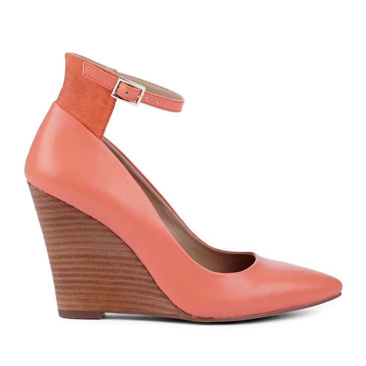 Coral Wedge Shoe with Ankle Strap.