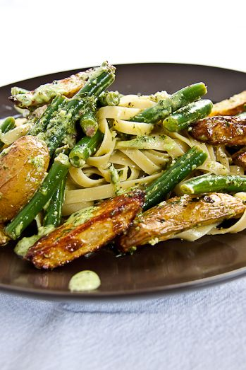 Tagliatelle with new potatoes, green beans and pesto. Your husband won't even notice it's vegetarian.