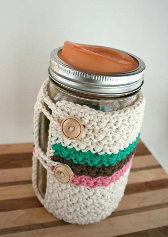 Crochet Mason Jar Cozy - Quart Mason Jar Cozy - Wide Mouth on Etsy, $18.00