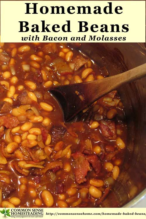 Our favorite homemade baked bean recipe is economical and delicious. It combines savory bacon and sweet molasses, slow cooked to perfection.