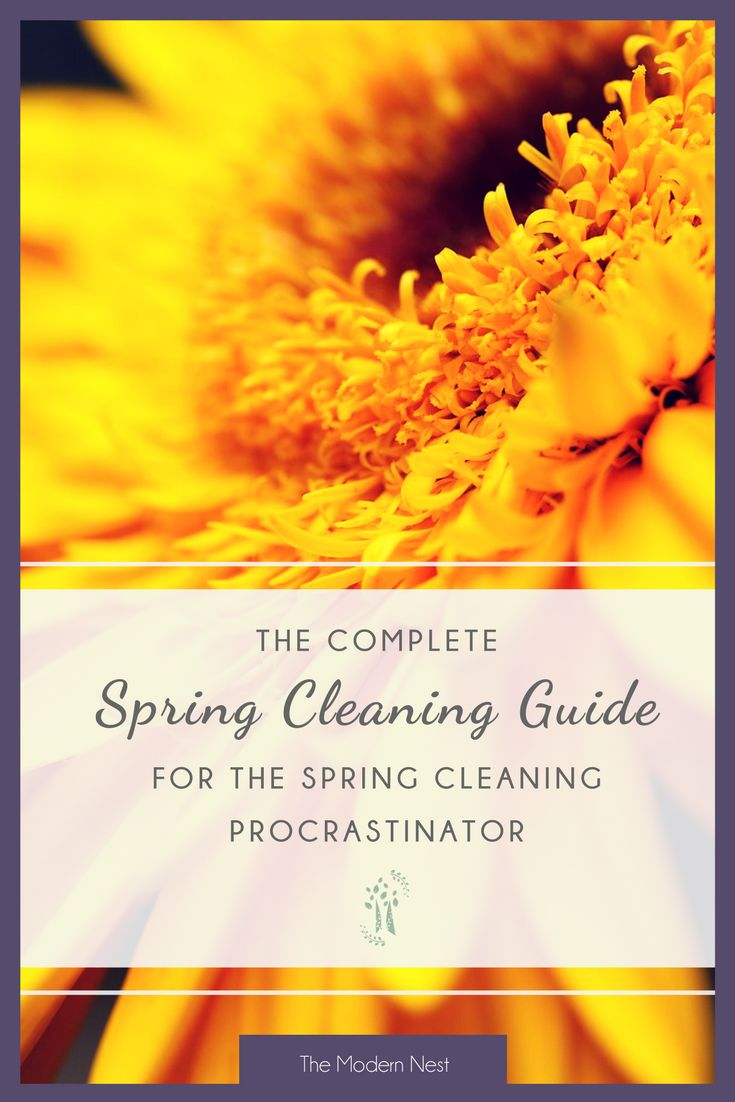 It's summer! But do you still have spring cleaning to do? Use my complete spring cleaning guide for the spring cleaning procrastinator and get it all done! Read more at https://www.themodernnestblog.com/archives/1008 and sign up to get 6 free cleaning printables!