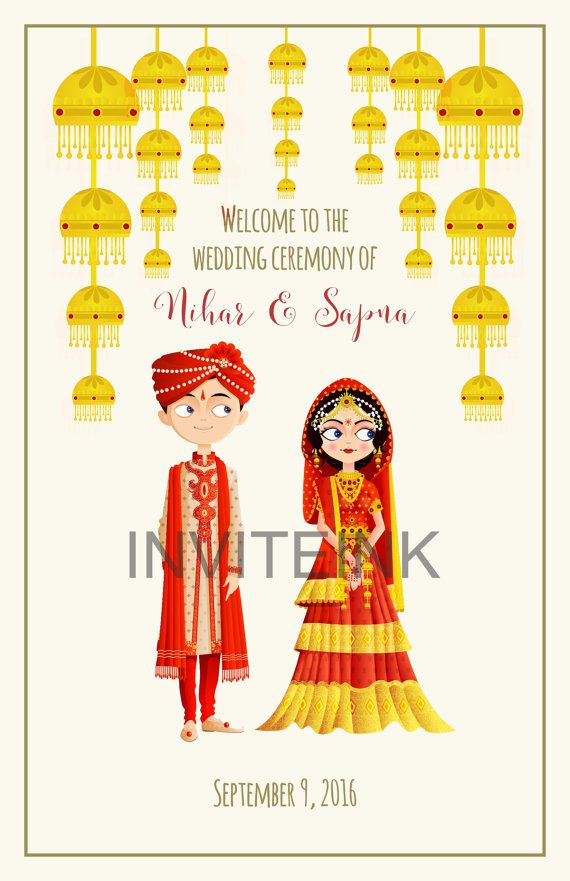 Indian wedding program with a couple in traditional clothes