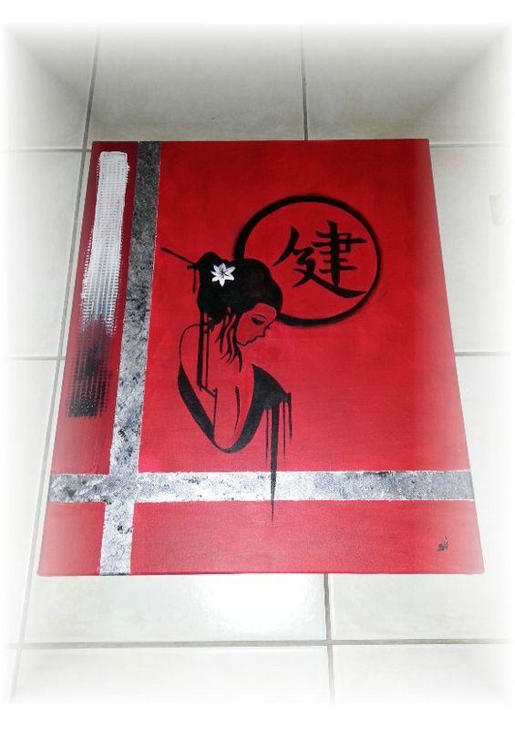 tableaux abstrait acrylique d sir de geisha tableau de style abstrait dans les couleurs noir. Black Bedroom Furniture Sets. Home Design Ideas