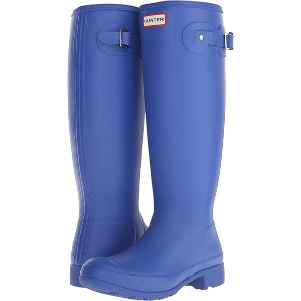 Hunter Original Tour (Bright Cobalt) Women's Rain Boots ($90) ❤ liked on Polyvore featuring shoes, boots, blue, knee-high boots, rubber boots, blue knee high boots, wellington boots, buckle boots and rain boots