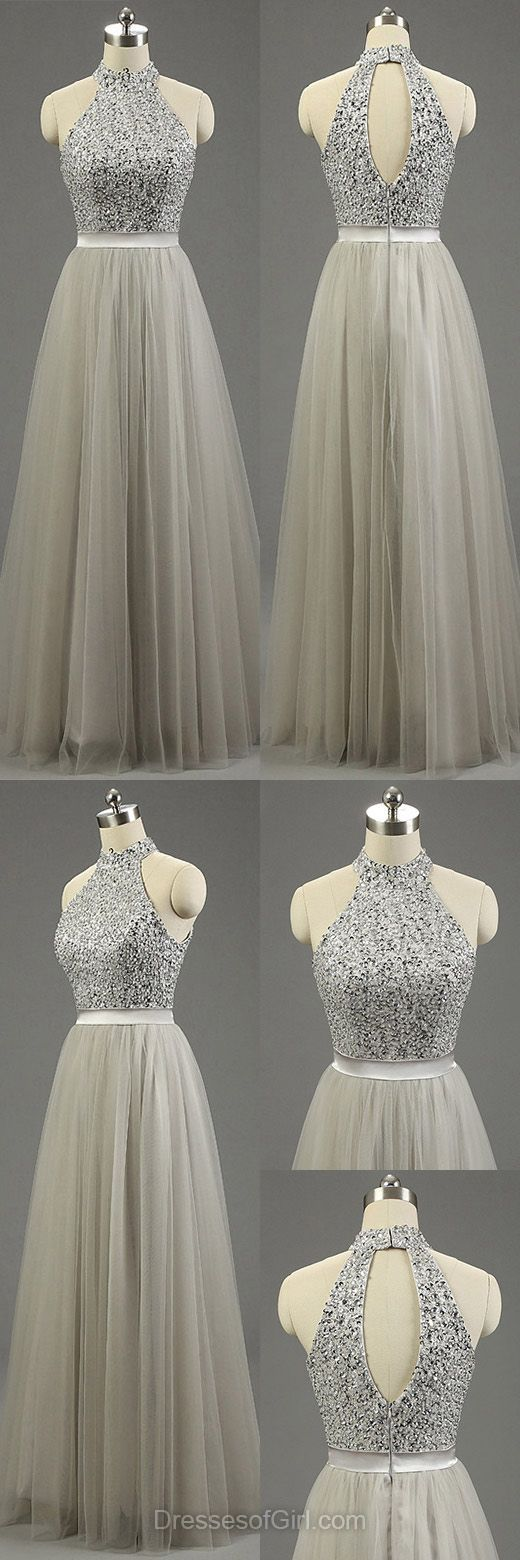 Graues Tüll Abiballkleid mit hohem Halsausschnitt, Bodenlange Abendkleider, Perlenstickerei