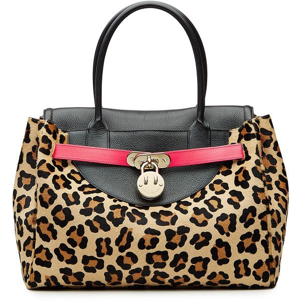 Hill & Friends Happy Tote Leather and Calf Hair Tote (£860) ❤ liked on Polyvore featuring bags, handbags, tote bags, animal prints, leopard print tote bag, leather tote, genuine leather handbags, handbags totes and tote purses