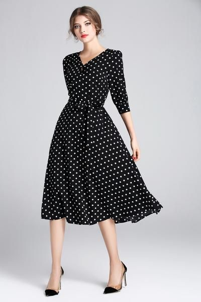 Polka Dots Tie-Waist Dress