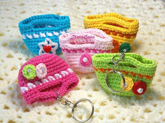 Crochet mini tote bag crochet mini bag beaded by ColorificThings