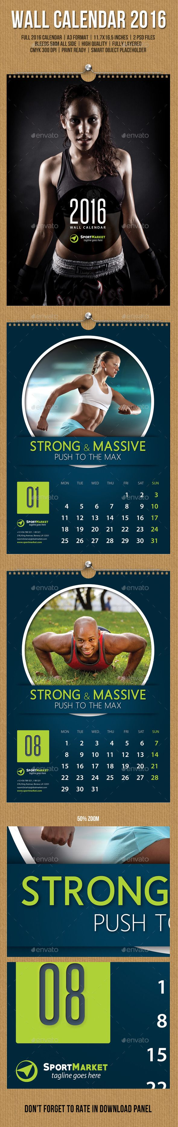 Wall Calendar A3 2016 PSD Template #design Download: http://graphicriver.net/item/wall-calendar-a3-2016-v20/12934104?ref=ksioks