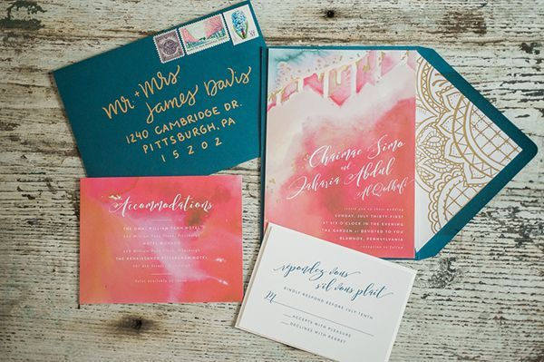 Watercolor invitation suites