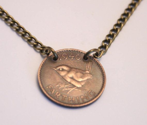 English coin pendant necklace. A genuine farthing by DearSusan, $25.00