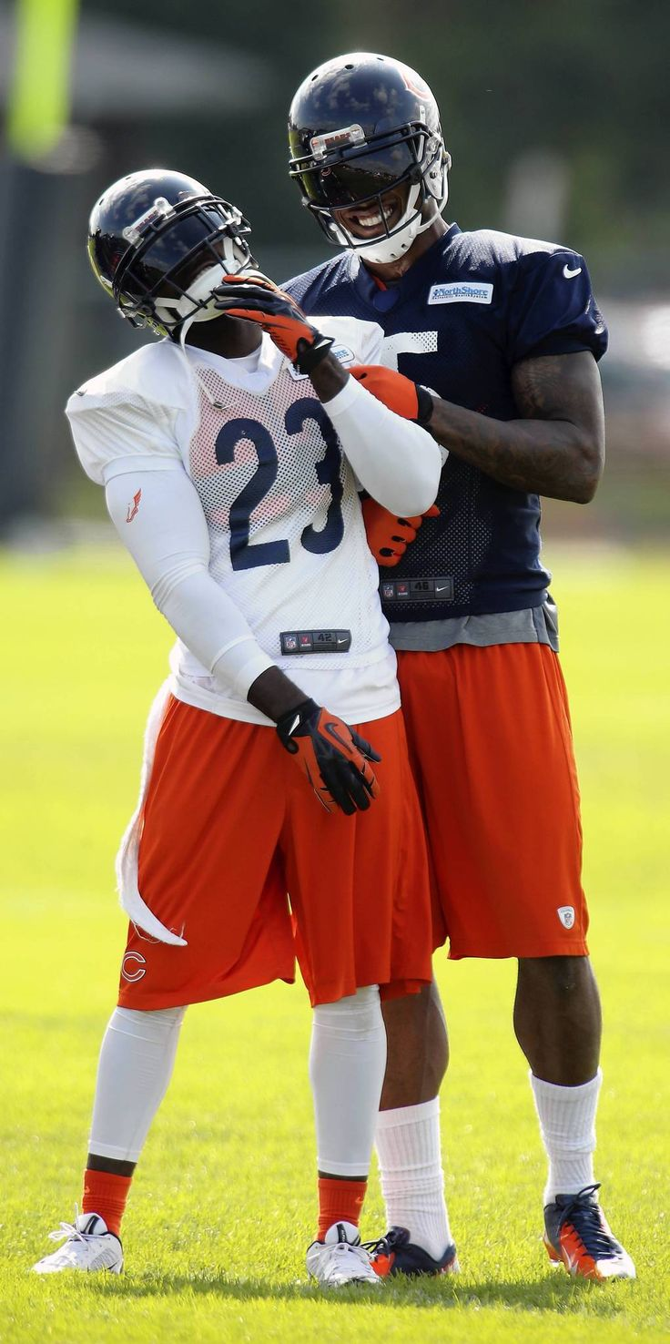 Devin Hester and Brandon Marshall share a laugh.