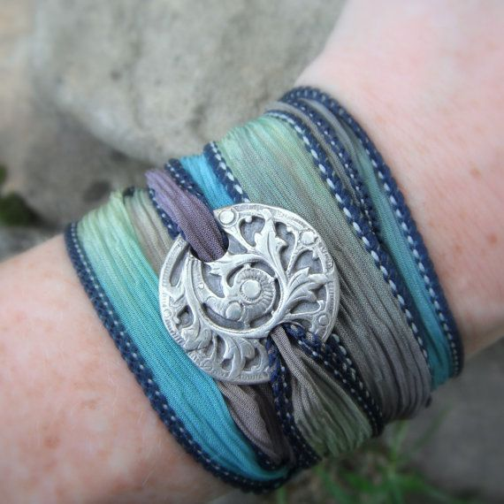 Silver Antique Fern Bracelet Silver & Silk Wrap by SilvanArts, $43.00