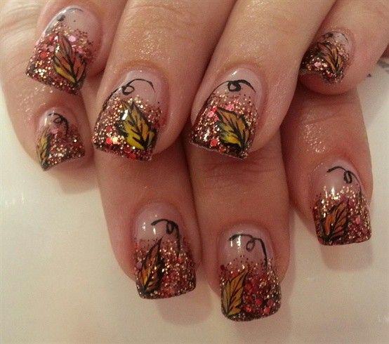 Fall Glitter Nail Designs: Cute Glitter Fall Leaves Nails Art