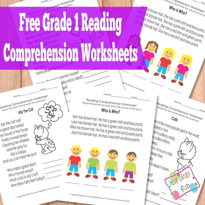 Grade 1 Reading Comprehension Worksheets. I just downloaded the Kindergarten pack!